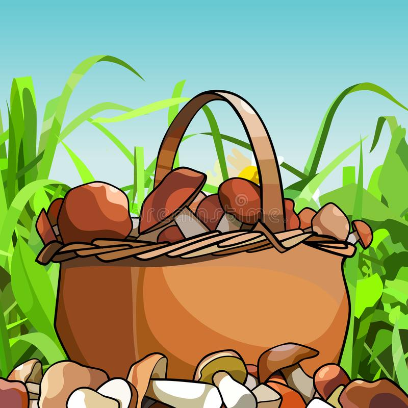 Le panier de bande dessinée avec des champignons se tient dans l'herbe illustration libre de droits