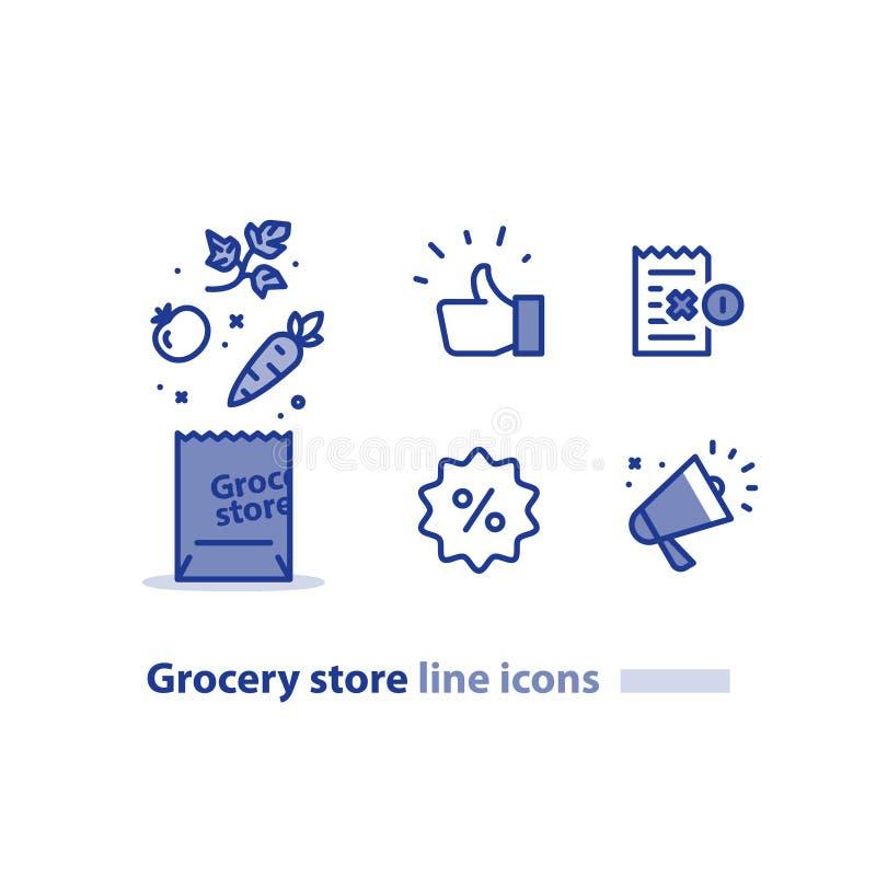 Le panier de nourriture, paquet d'épicerie, les légumes frais rayent l'icône, mégaphone d'annonce de vente illustration de vecteur