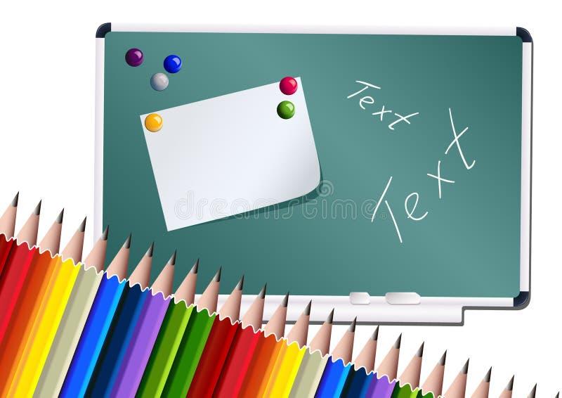 le panneau crayonne l'école illustration de vecteur