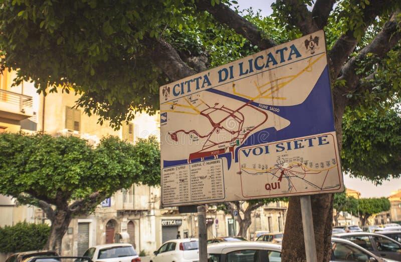 Le panneau d'affichage de Licata images libres de droits