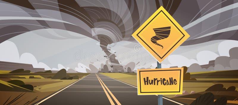 Le panneau routier avertissant au sujet de la tornade, remous de vent de campagne d'ouragan de tornade détruisent le concept de c illustration libre de droits