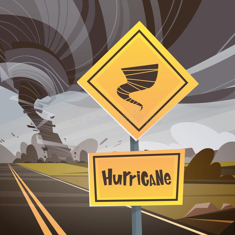 Le panneau routier avertissant au sujet de la tornade, remous de vent de campagne d'ouragan de tornade détruisent le concept de c illustration stock