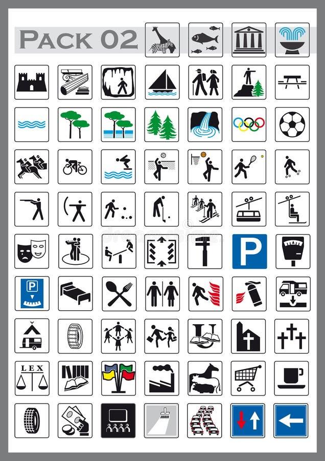 Le panneau routier a illustré des icônes illustration de vecteur