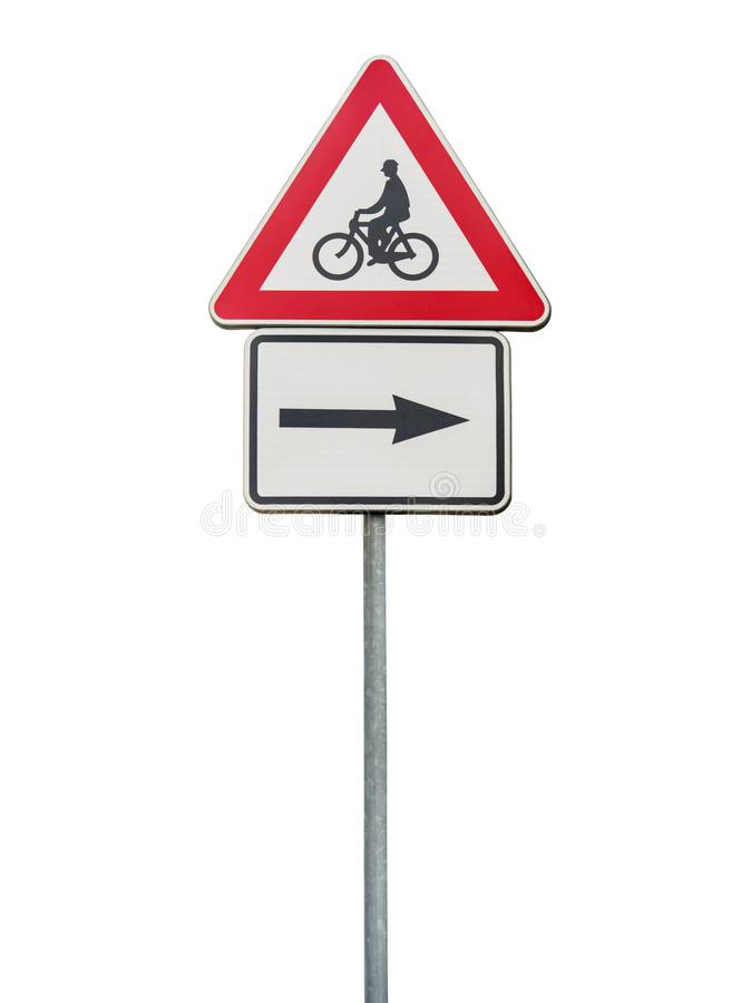 Le panneau routier pour la flèche droite et le recyclage rouge signent d'isolement sur la tige image stock