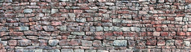Le panorama de mur en pierre, panoramique monopolisent la parole le fond de modèle, la vieille texture grunge rouge et grise supe photo stock
