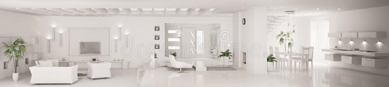Le panorama intérieur moderne blanc 3d rendent illustration libre de droits