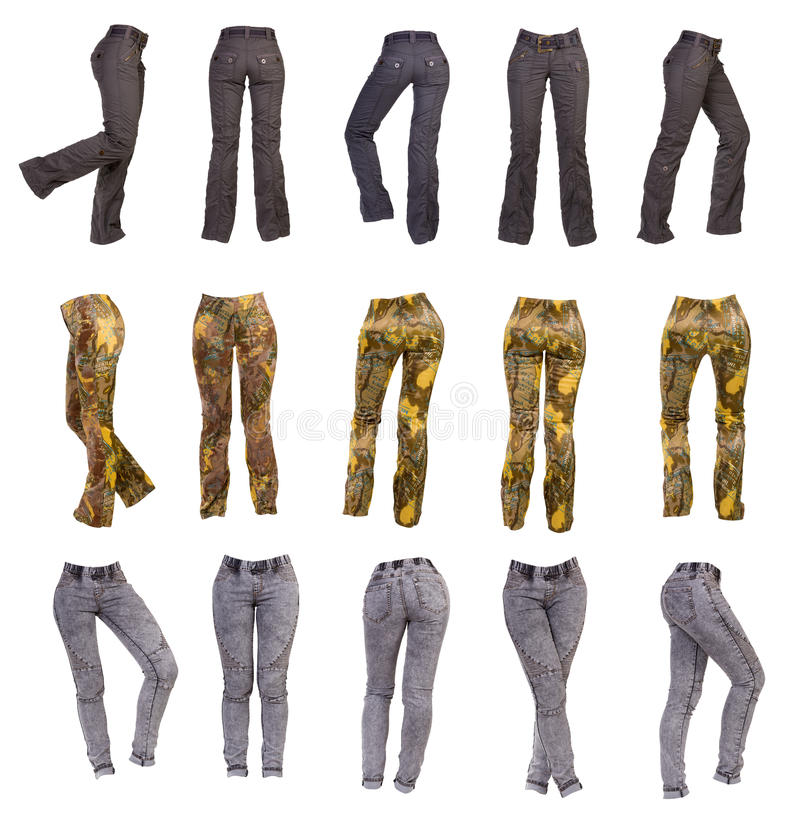 Le pantalon des femmes élégantes, collage photo stock