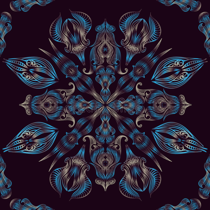 Le paon floral oriental sans couture bleu de modèle de dentelle fait varier le pas illustration libre de droits