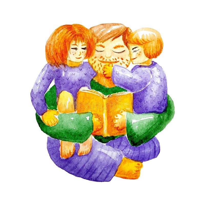 Le papa d'aquarelle lit un livre à ses enfants dans des vêtements à la maison se reposant sur son recouvrement et étreindre Pour  illustration stock