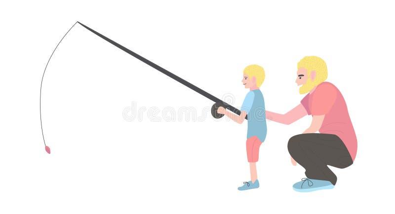Le papa enseigne à pêcher son fils Un homme avec un petit garçon s'assied illustration libre de droits