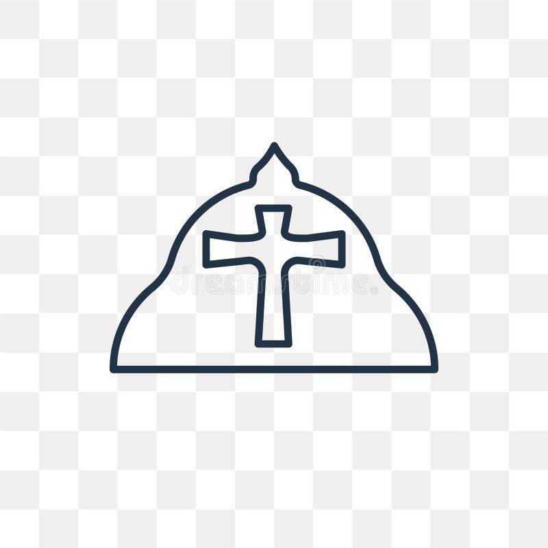 Le pape dirigent l'icône sur le fond transparent, pape linéaire illustration stock