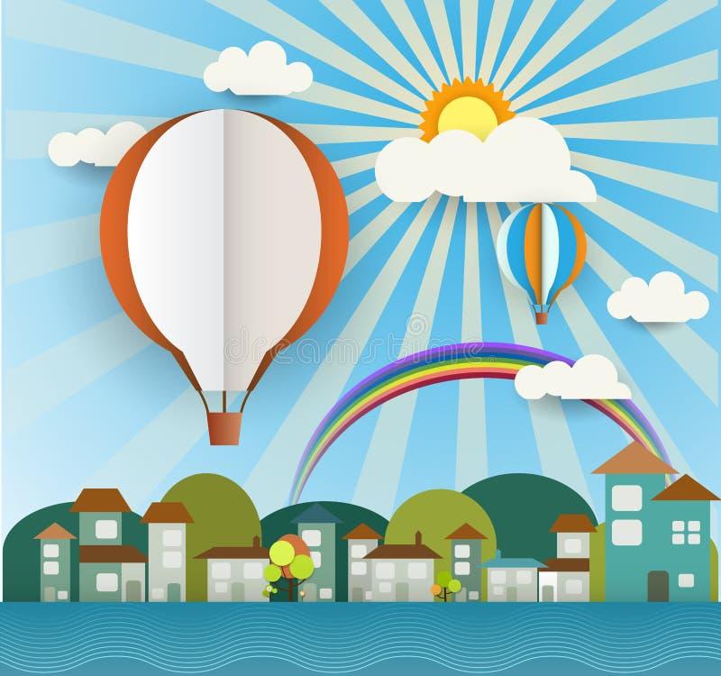 Le papier abstrait a coupé avec le soleil, le nuage, la maison, les arbres et le ballon vide sur le fond bleu-clair L'espace de b illustration stock