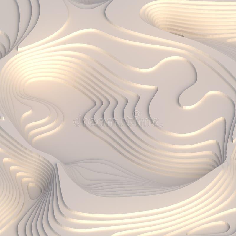 Le papier abstrait a coupé la conception de fond d'art pour le calibre de site Web Concept de carte de topographie rendu 3d illustration de vecteur