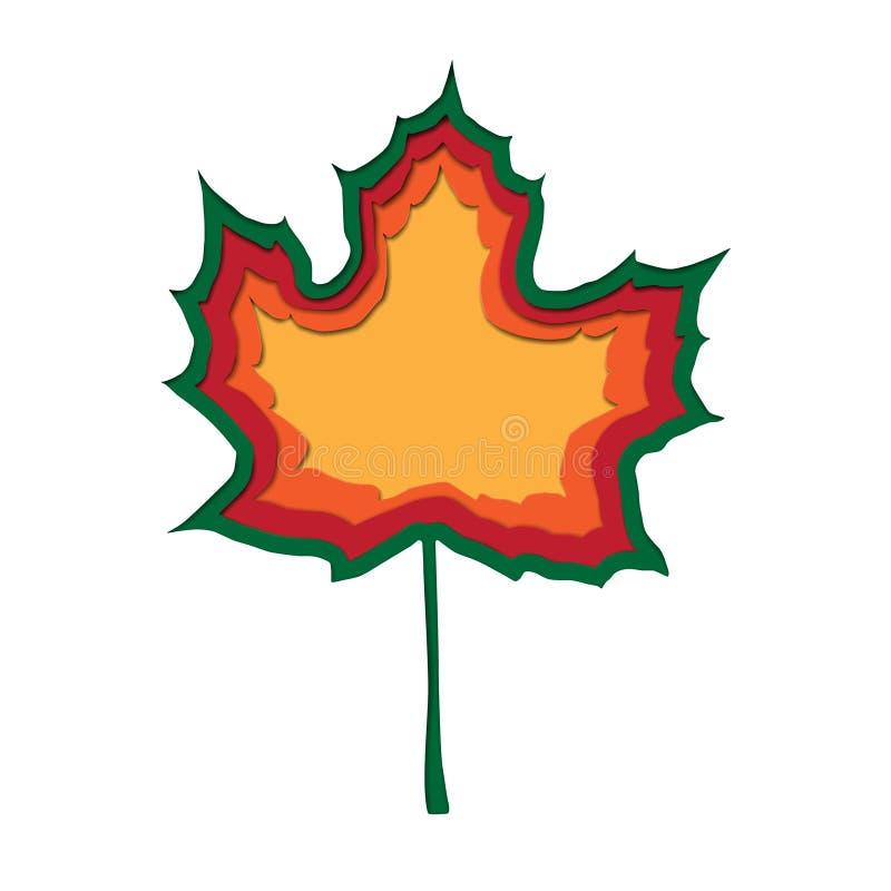 Le papier abstrait de vecteur a coupé la feuille d'érable d'automne de style de couleurs vertes, oranges, rouges, jaunes Image co image libre de droits