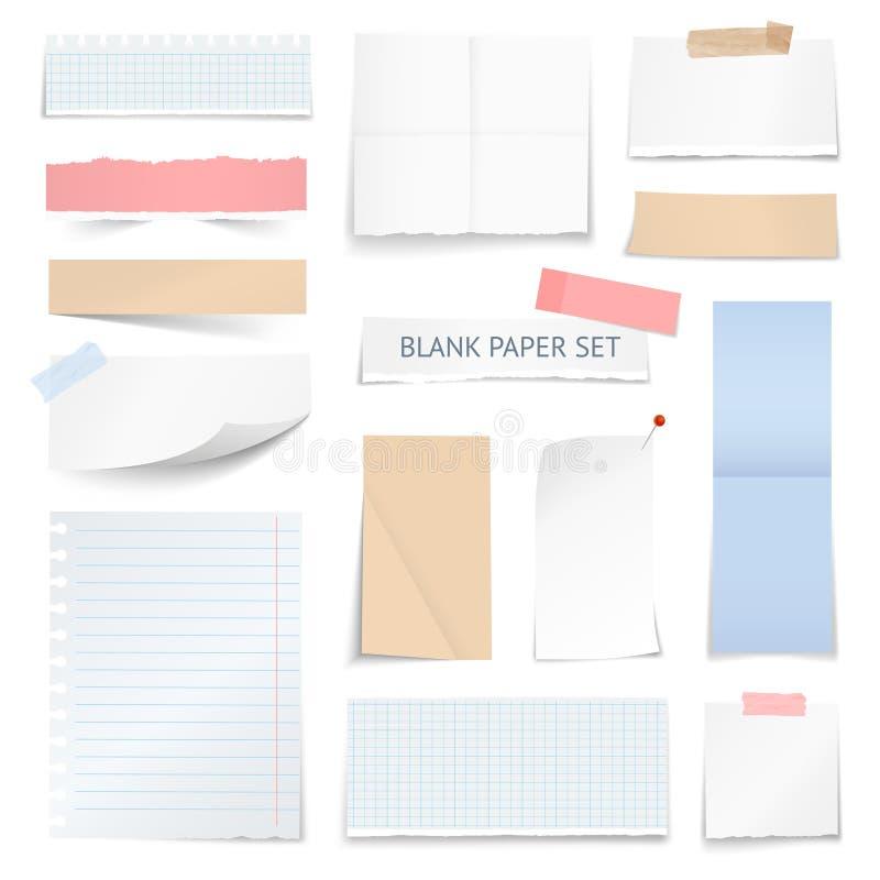 Le papier blanc couvre la collection réaliste de bandes illustration de vecteur
