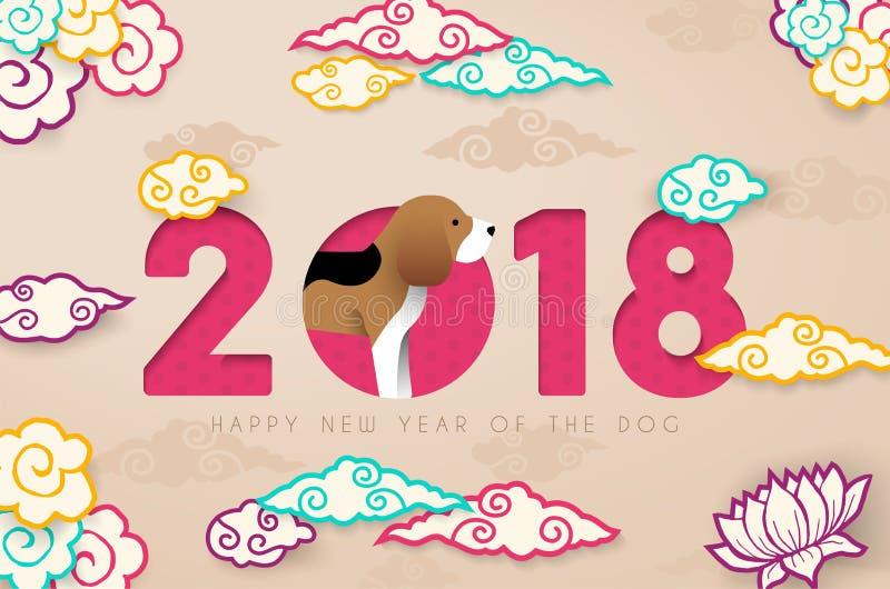 Le papier chinois de la nouvelle année 2018 a coupé la carte de chien de briquet illustration libre de droits