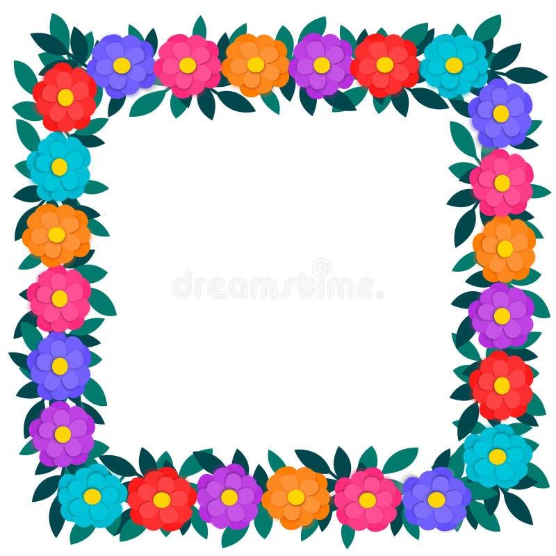 Le papier coloré a coupé les fleurs et le cadre carré ou la frontière de guirlande florale verte de feuilles d'isolement sur le f illustration stock