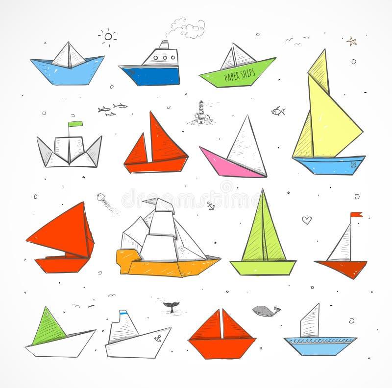 Le papier coloré d'origami embarque des croquis illustration de vecteur