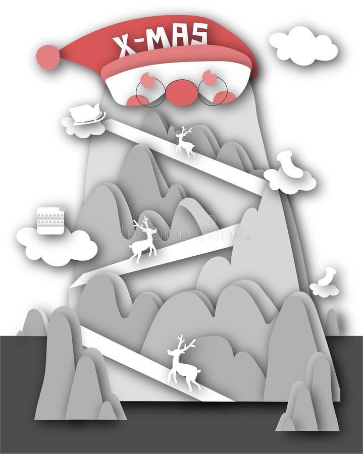 Le papier a coupé le Joyeux Noël et la bonne année avec le renne trois illustration de vecteur