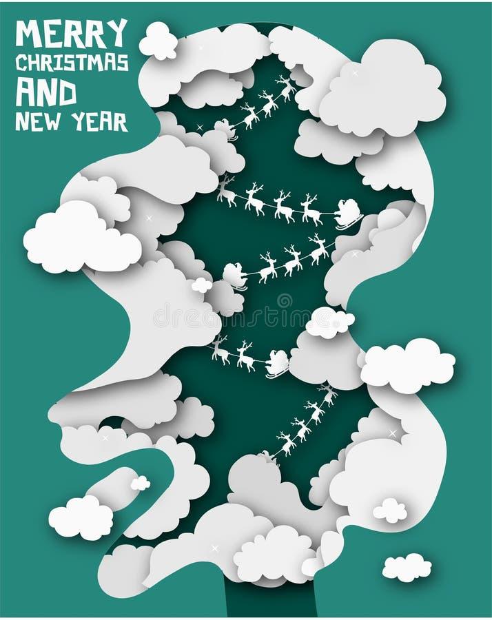 Le papier a coupé le Joyeux Noël et la nouvelle année, l'hiver Santa Claus et le R illustration stock