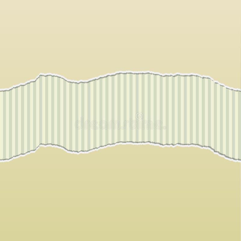 Le papier déchiré beige indiquent le panneau de rayures illustration stock