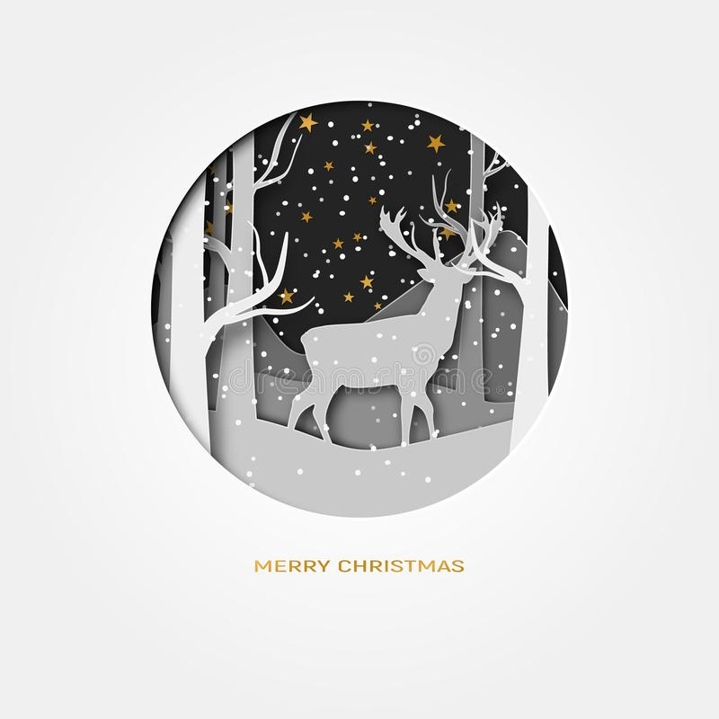 Le papier d'abrégé sur le Joyeux Noël 3d a coupé l'illustration des cerfs communs dans la neige de forêt Lune et étoiles pendant  illustration de vecteur