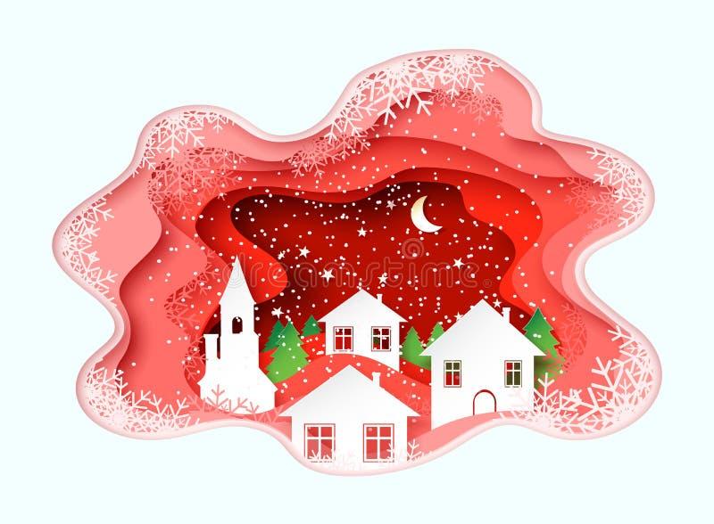 le papier 3d en pastel abstrait a coupé l'illustration de l'hiver, de la ville, de la nuit, de l'église et des pins Descripteur d illustration de vecteur