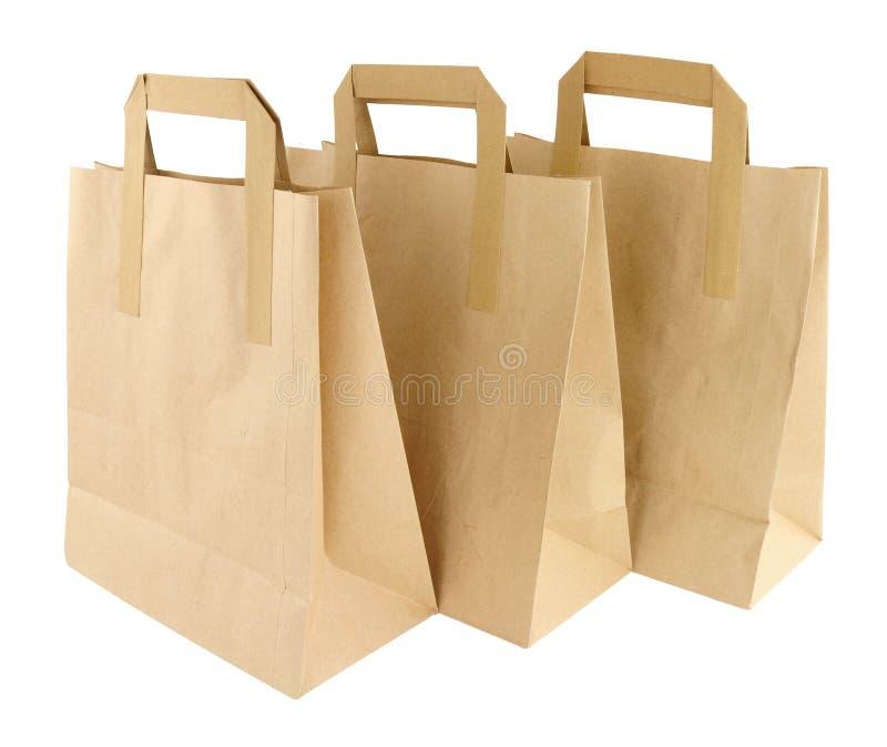 Le papier de Brown emportent des sacs de transporteur de nourriture image stock