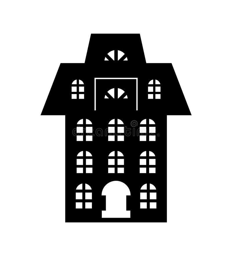 Le papier de Noël a coupé le vecteur noir de bâtiment de vacances illustration de vecteur