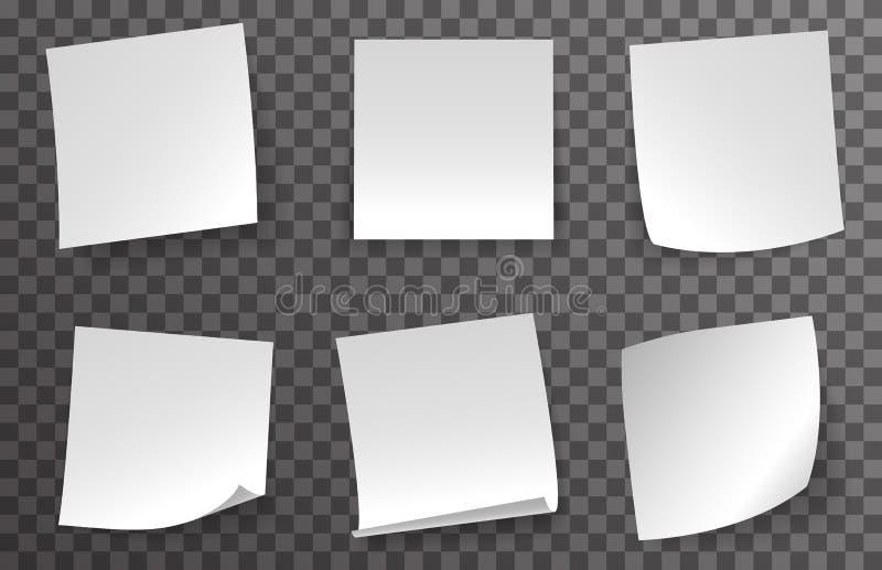 Le papier de note blanc a courbé l'illustration transparente de vecteur de fond de message rouge faisant le coin de bouton pousso illustration libre de droits