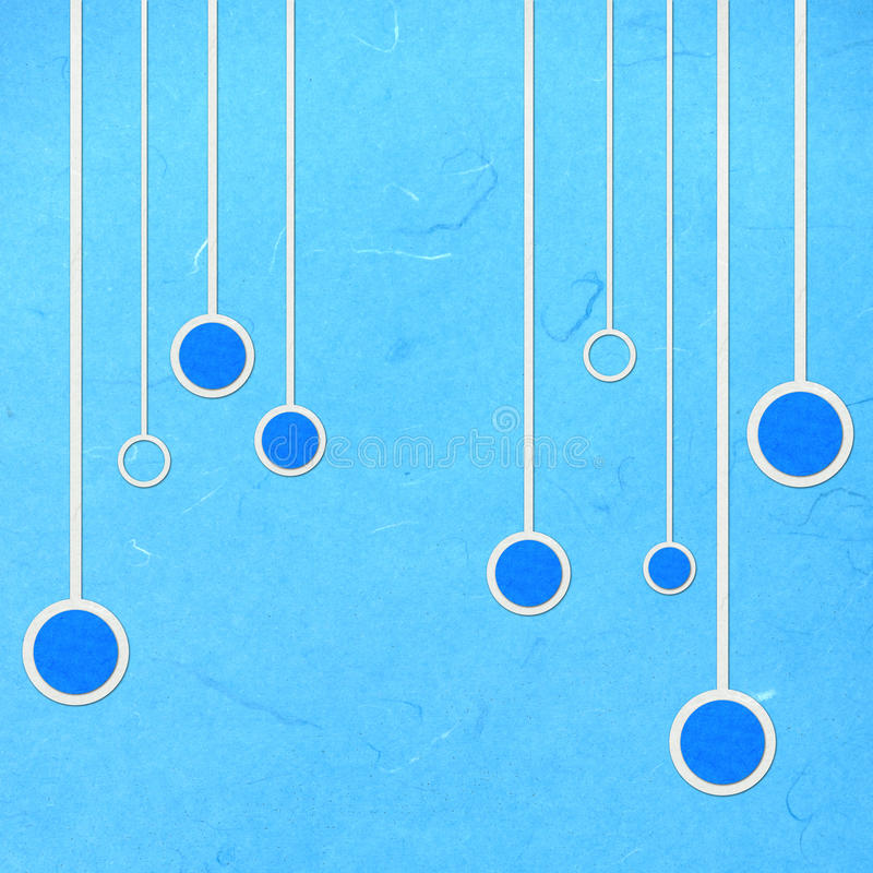 Le papier de riz a coupé l'abstact bleu linéaire et de cercle illustration de vecteur