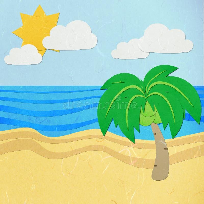 Le papier de riz a coupé l'arbre vert sur une plage blanche de sable illustration libre de droits