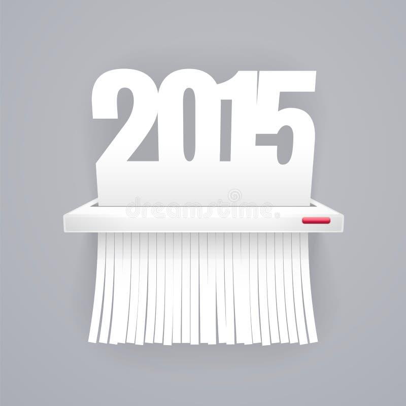 Le papier 2015 est coupé en défibreur sur le gris illustration libre de droits