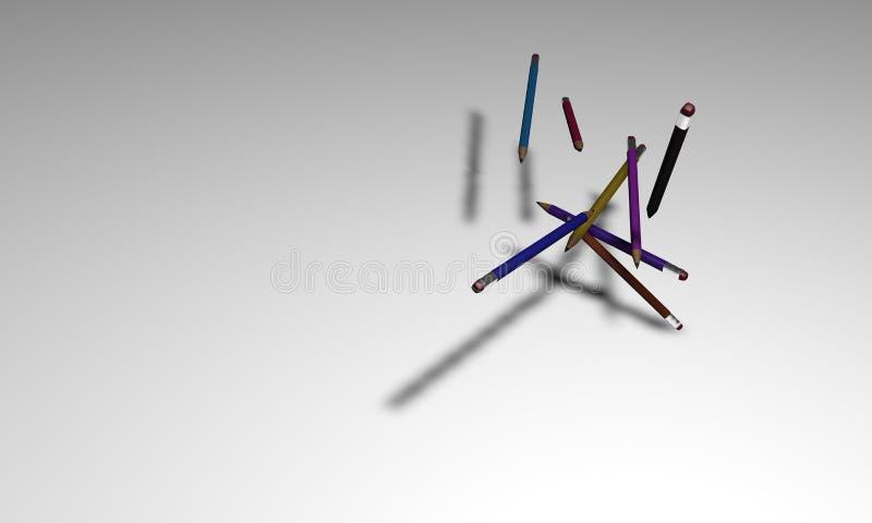 Le papier A4 et le crayon travaillent au plancher modelé illustration stock