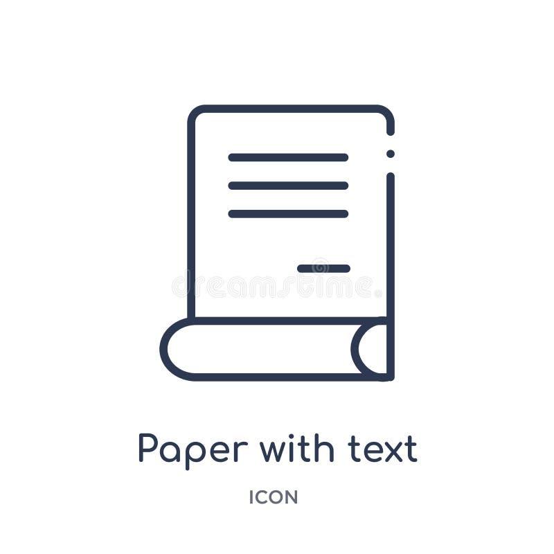 Le papier linéaire avec l'icône des textes de éditent la collection d'ensemble Ligne mince papier avec le vecteur des textes d'is illustration libre de droits