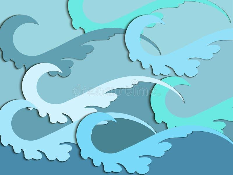 Le papier ondule avec l'ombre Ondes de mer Vecteur illustration libre de droits