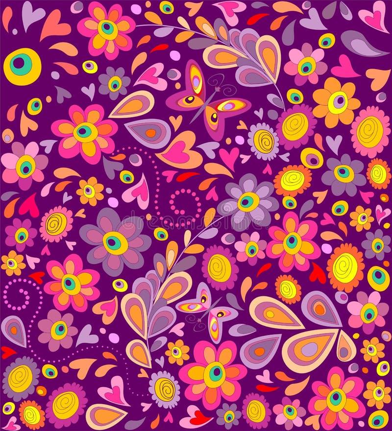 le papier peint hippie avec les fleurs dr les impriment et