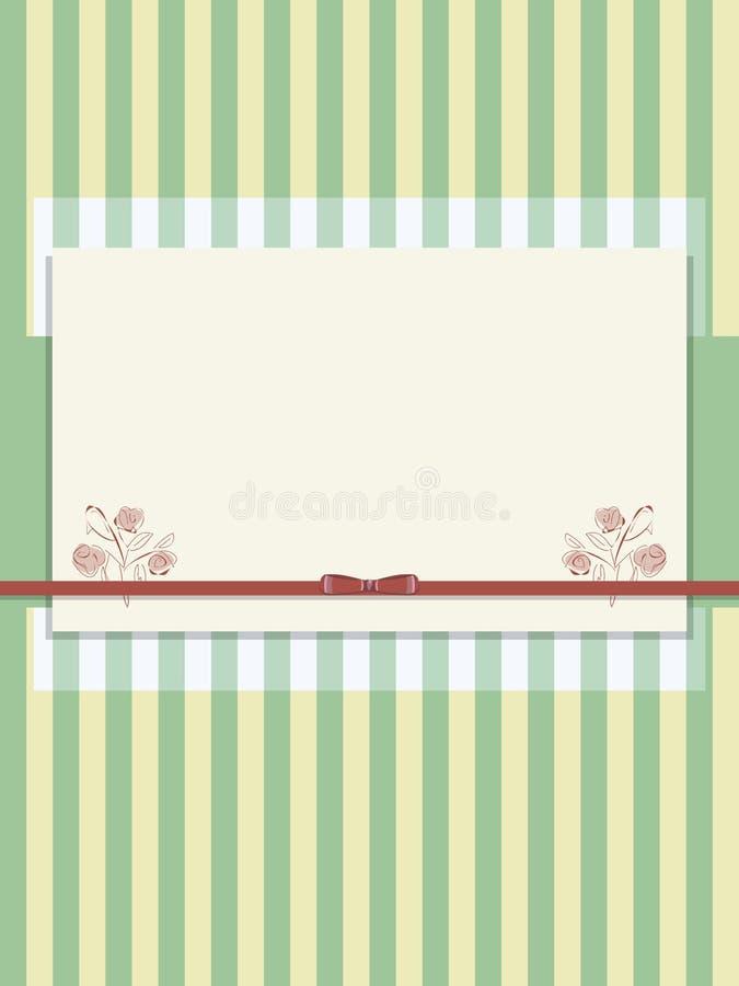 Le papier rayé vert jaunâtre frottent avec l'arc rouge du ruban de satin et carte postale de couche semi-transparente de la rétro illustration de vecteur