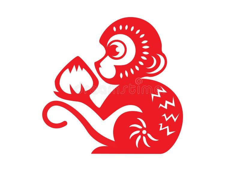 Le papier rouge a coupé des symboles d'un zodiaque de singe (le singe tenant la pêche) illustration de vecteur