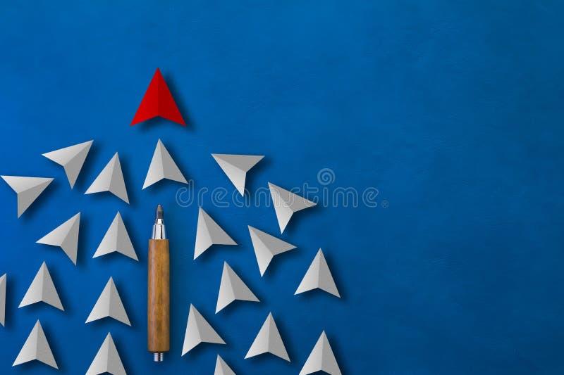 Le papier rouge a coupé la flèche comme chef de tendance avec beaucoup de flèches blanches comme les FO images stock