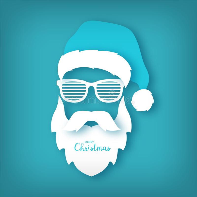 Le papier Santa Claus avec des verres shutter des nuances sur le fond bleu illustration stock