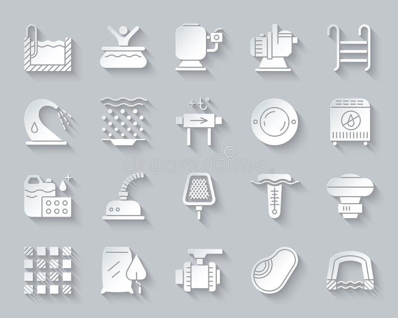 Le papier simple d'équipement de piscine a coupé l'ensemble de vecteur d'icônes illustration stock