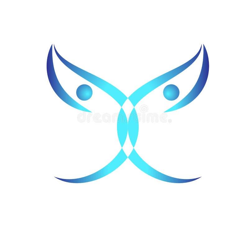 Le papillon, logo, coeur, beauté, détendent, aiment, des ailes, yoga, mode de vie, vecteur abstrait d'icône de symbole de papillo illustration libre de droits