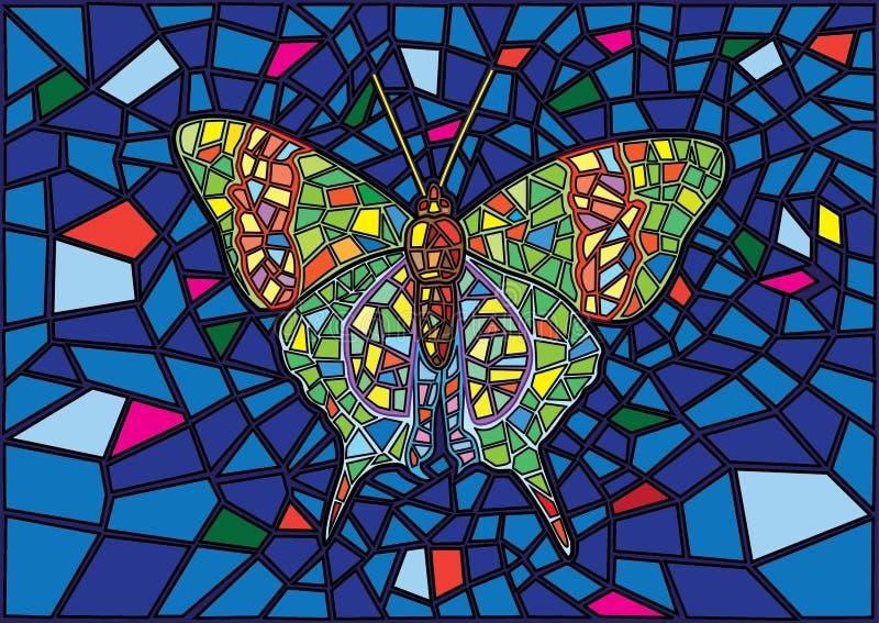 Le papillon a souillé le fond en verre de tache floue de mosaïque illustration de vecteur