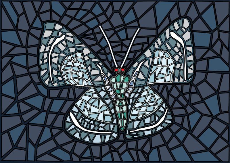 Le papillon a souillé le fond gris en verre de noir de mosaïque illustration libre de droits