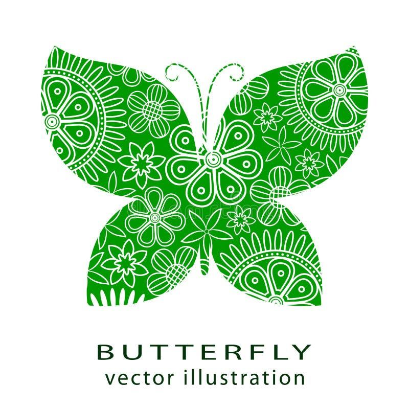 Le papillon vert coupé par résumé s'est composé des fleurs blanches, d'isolement illustration de vecteur