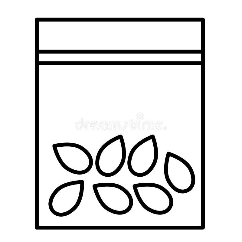 Le paquet avec des graines amincissent la ligne icône Mettez en sac avec l'illustration de vecteur de grains d'isolement sur le b illustration stock
