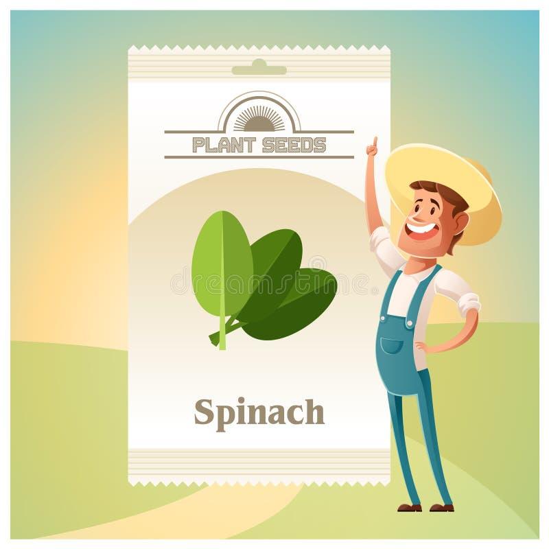 Le paquet d'épinards sème l'icône illustration stock