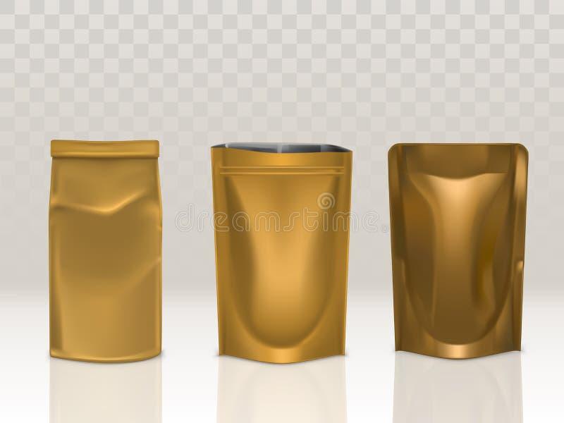 Le paquet d'or de sac de papier ou de nourriture d'aluminium a placé d'isolement illustration libre de droits