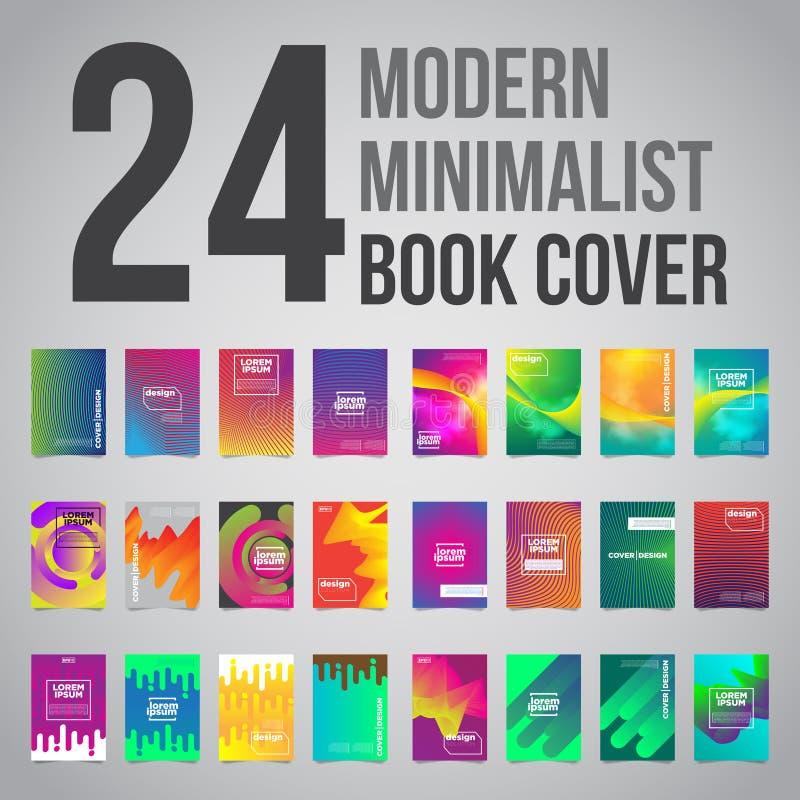 Le paquet de 24 couvertures minimalistes futuristes colorées conçoivent Illustration du vecteur EPS10 illustration libre de droits